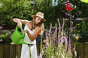 happy woman gardening