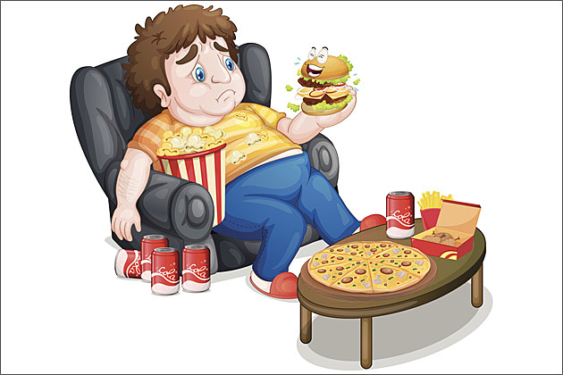 overweight kid eating pizza