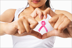 breast cancer woman with ribbon