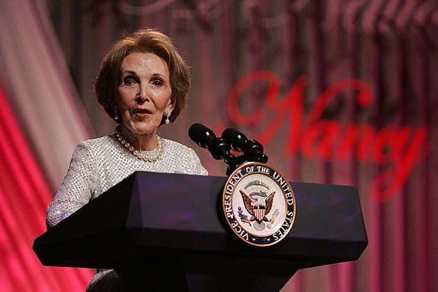 Nancy Reagan speaking at lectern