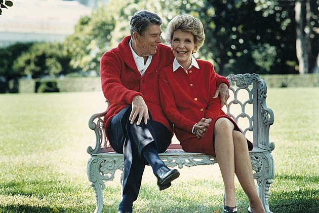 Ronald Reagan and Nancy Reagan sitting together