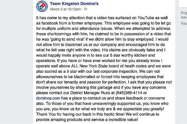 Domino's Comments