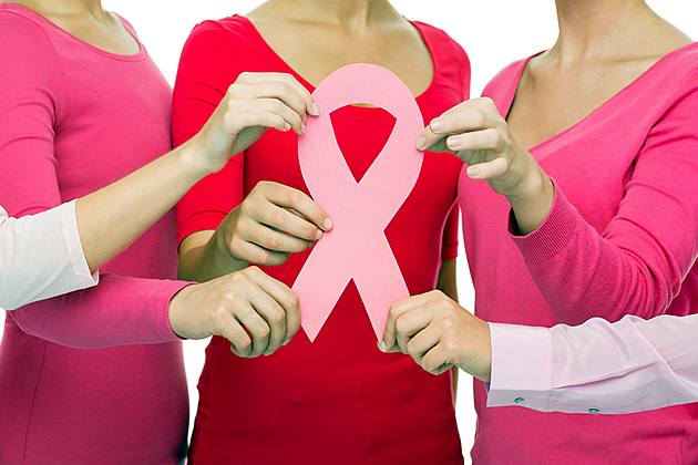 women holding breast cancer awareness ribbon