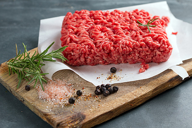 ground beef on cutting board